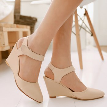 Trendy Pointed Toe and Solid Color Design Women's Wedge Shoes - APRICOT APRICOT