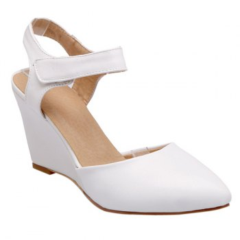 Trendy Pointed Toe and Solid Color Design Women's Wedge Shoes - WHITE 37