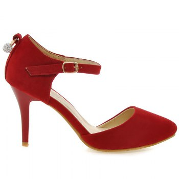 Fashionable Suede and Faux Pearl Design Women's Pumps - RED 37