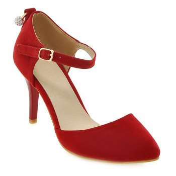 Buy Fashionable Suede Faux Pearl Design Women's Pumps RED