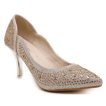 Trendy Metallic Color and Rhinestone Design Women's Pumps