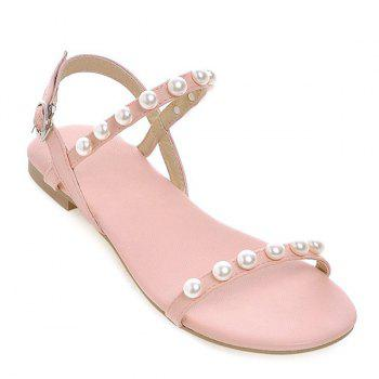 Concise Faux Pearl and Flat Heel Design Women's Sandals