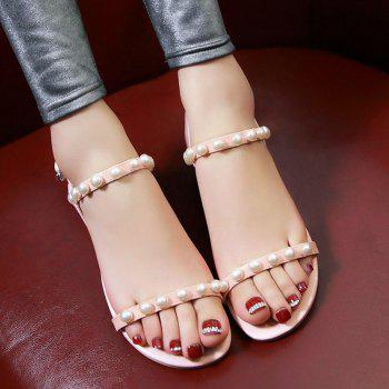 Concise Faux Pearl and Flat Heel Design Women's Sandals - PINK 39