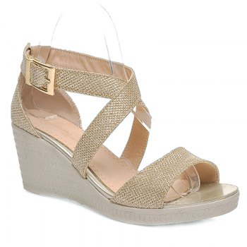 Fashionable Solid Colour and Cross Straps Design Women's Sandals