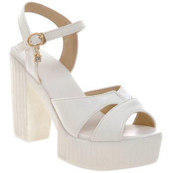 Elegant Solid Color and Chunky Heel Design Women's Sandals
