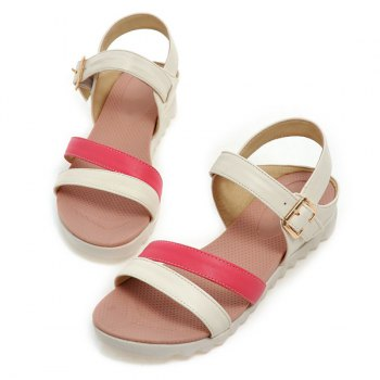 Simple PU Leather and Colour Block Design Women's Sandals - WATERMELON RED 39