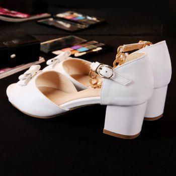 Sweet Bowknot and Chunky Heel Design Women's Sandals - WHITE 38