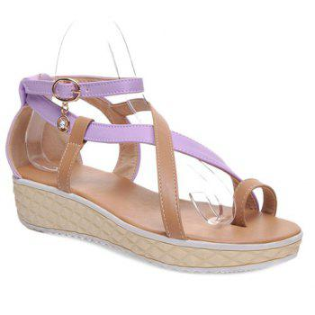 Toe Ring Color Block Cross Strap Sandals