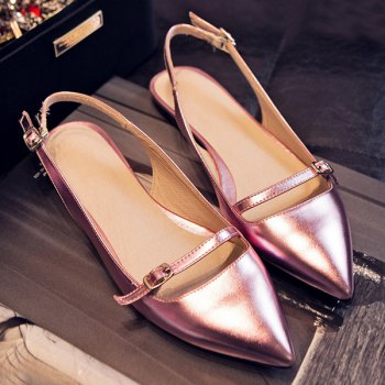 Fashionable Solid Color and Double Buckle Design Women's Flat Shoes - 40 40