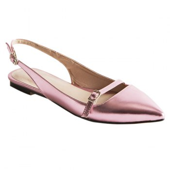 Fashionable Solid Color and Double Buckle Design Women's Flat Shoes - PINK 40