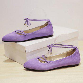 Graceful Lace-Up and Pointed Toe Design Women's Flat Shoes - LIGHT PURPLE 38