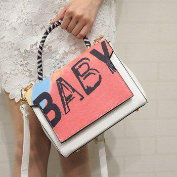 Stylish Letter Print and Color Block Design Women's Tote Bag - WHITE