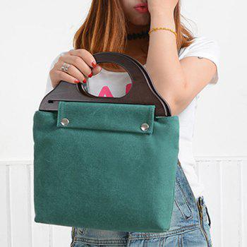 Casual Solid Colour and Canvas Design Women's Tote Bag - GREEN
