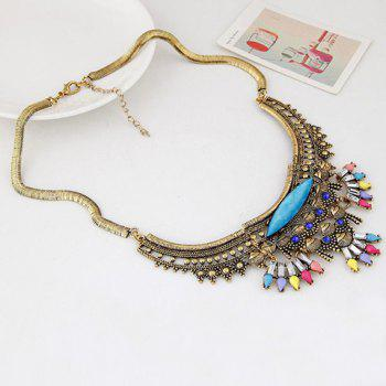 Alloy Artificial Crystal Geometric Necklace - GOLDEN