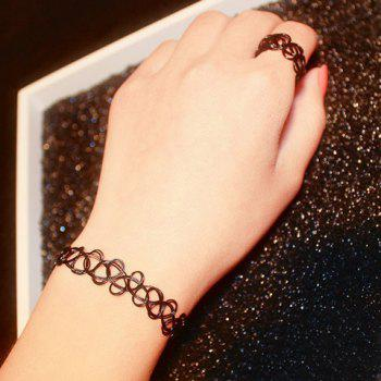 A Suit of Hollow Out Necklace Bracelet and Ring - BLACK ONE-SIZE
