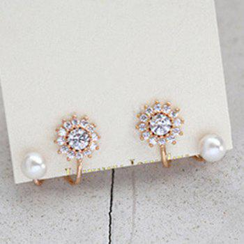 Pair of Floral Rhinestone S Shape Earrings