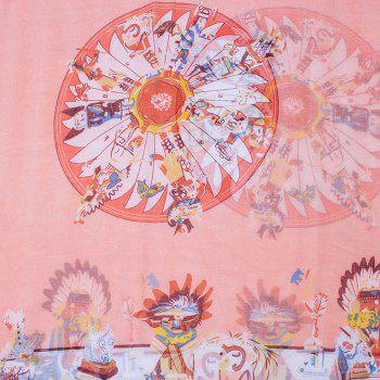 Chic American Indian Tribal Style Printed Women's Voile Bib Scarf - LIGHT PINK