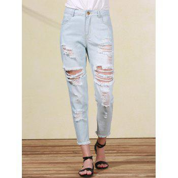 Bleach Wash Frayed Ripped Jeans For Women