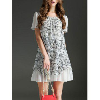 Trendy Women's Scoop Neck Short Sleeve Printed Ruffled Dress