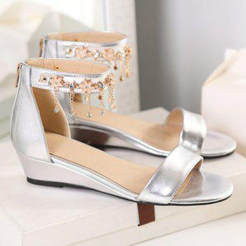 Fashion Wedge Heel and Ankle-Wrap Design Women's Sandals - SILVER 36