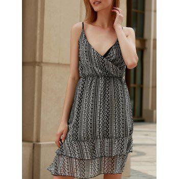 High Waist Spaghetti Strap Print Dress