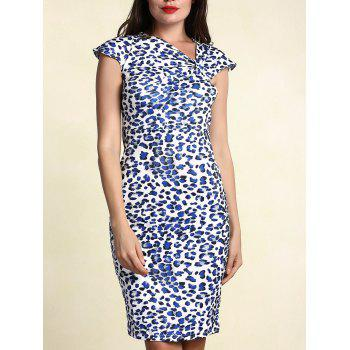 Stylish Women's Skew Collar Short Sleeve Leopard Dress