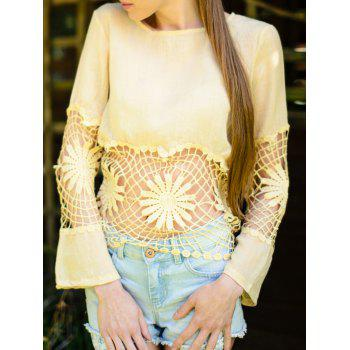 Fashionable Women's Jewel Neck Long Sleeve Crochet Blouse - OFF-WHITE M