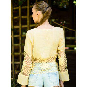 Fashionable Women's Jewel Neck Long Sleeve Crochet Blouse - M M