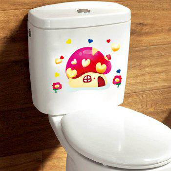 Stylish Mushroom House Pattern Toilet Sticker For Bathroom Restroom Decoration - COLORMIX