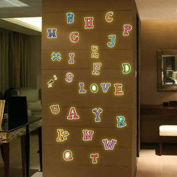 Stylish Luminous Colorful English Letters Pattern Wall Sticker For Bedroom Decoration - COLORFUL