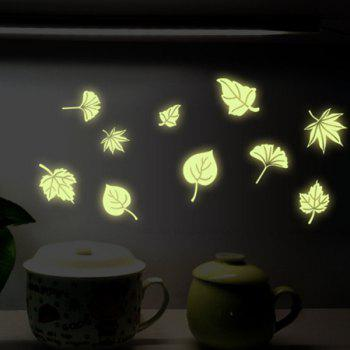 Stylish Luminous Floating Leaves Pattern Wall Sticker For Bedroom Decoration - FLUORESCENT YELLOW