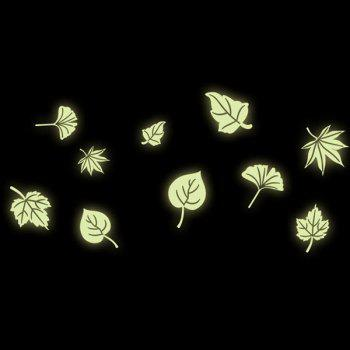 Stylish Luminous Floating Leaves Pattern Wall Sticker For Bedroom Decoration