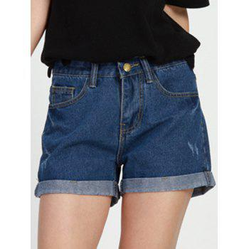 Simple Design Mid Waist Solid Color Women's Denim Shorts