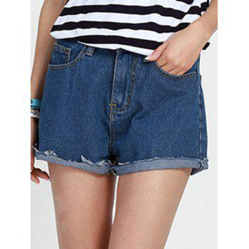 Casual Mid Waist Button Design Solid Color Women's Shorts