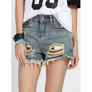 Chic Mid Waist Ripped Button Design Denim Shorts For Women