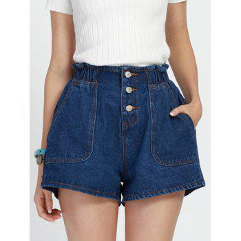 Stylish Elastic Waist Buttoned Women's Wide Leg Shorts