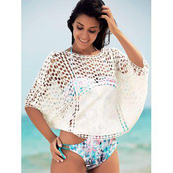Openwork Dolman Sleeve Cover-Up - WHITE ONE SIZE(FIT SIZE XS TO M)