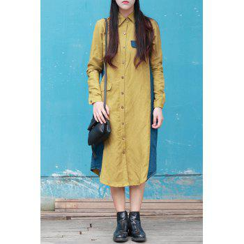 Shirt Collar Color Block Midi Dress