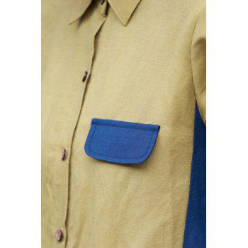 Shirt Collar Color Block Midi Dress - Bleu et Jaune L