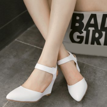 Trendy Pointed Toe and Solid Color Design Women's Wedge Shoes - WHITE WHITE