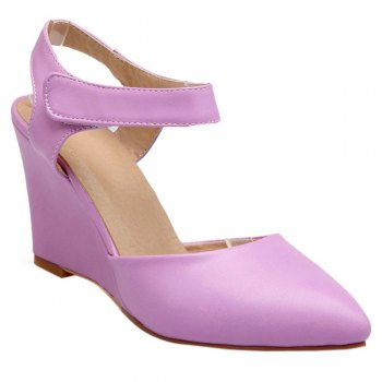 Trendy Pointed Toe and Solid Color Design Women's Wedge Shoes - PURPLE PURPLE