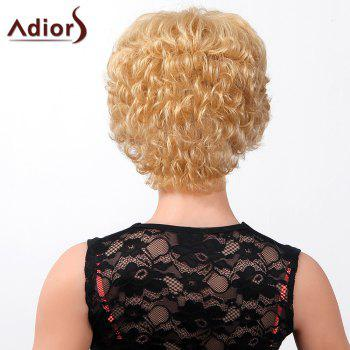 Stylish Oblique Bang Fluffy Natural Curly Short Capless Human Hair Wig For Women - JET BLACK