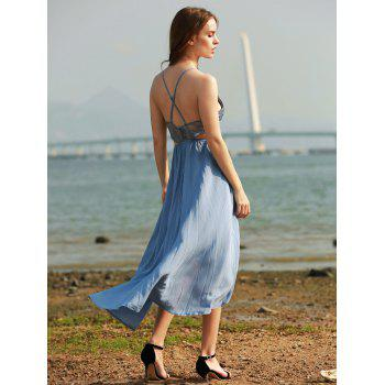 Stylish Women's Backless Crochet Asymmetric Cami Dress - BLUE L