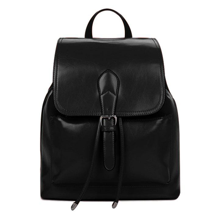 Fashion Solid Color and Cover Design Women's Satchel - BLACK