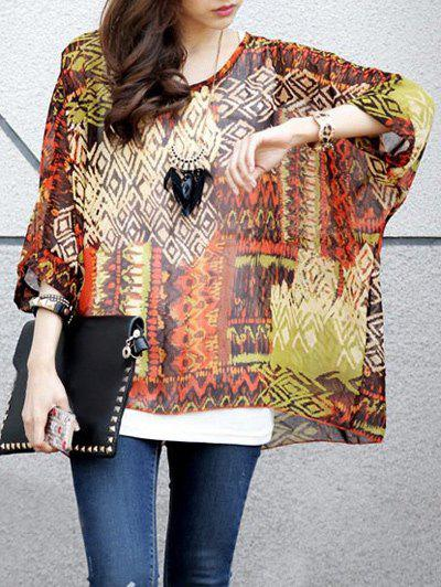 Ethnic Style Women's Round Neck Printed Batwing Sleeve Tee