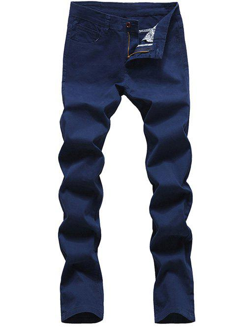 Men's Casual Solid Color Zip Fly Pants - SAPPHIRE BLUE 34