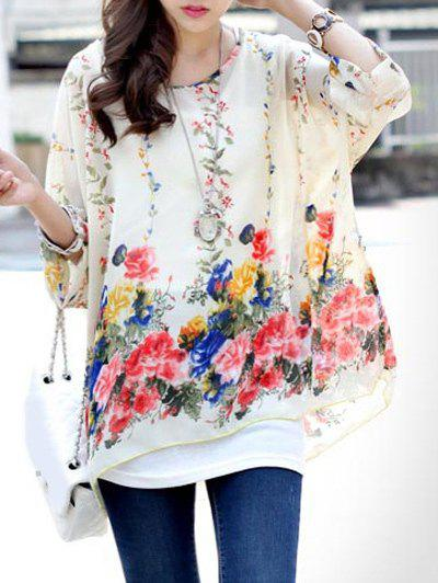 Sweet Women's Round Neck Floral Print Batwing Sleeve Tee - WHITE ONE SIZE(FIT SIZE XS TO M)