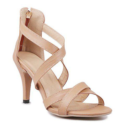Stylish Cross Straps and Solid Color Design Women's Sandals - APRICOT 37