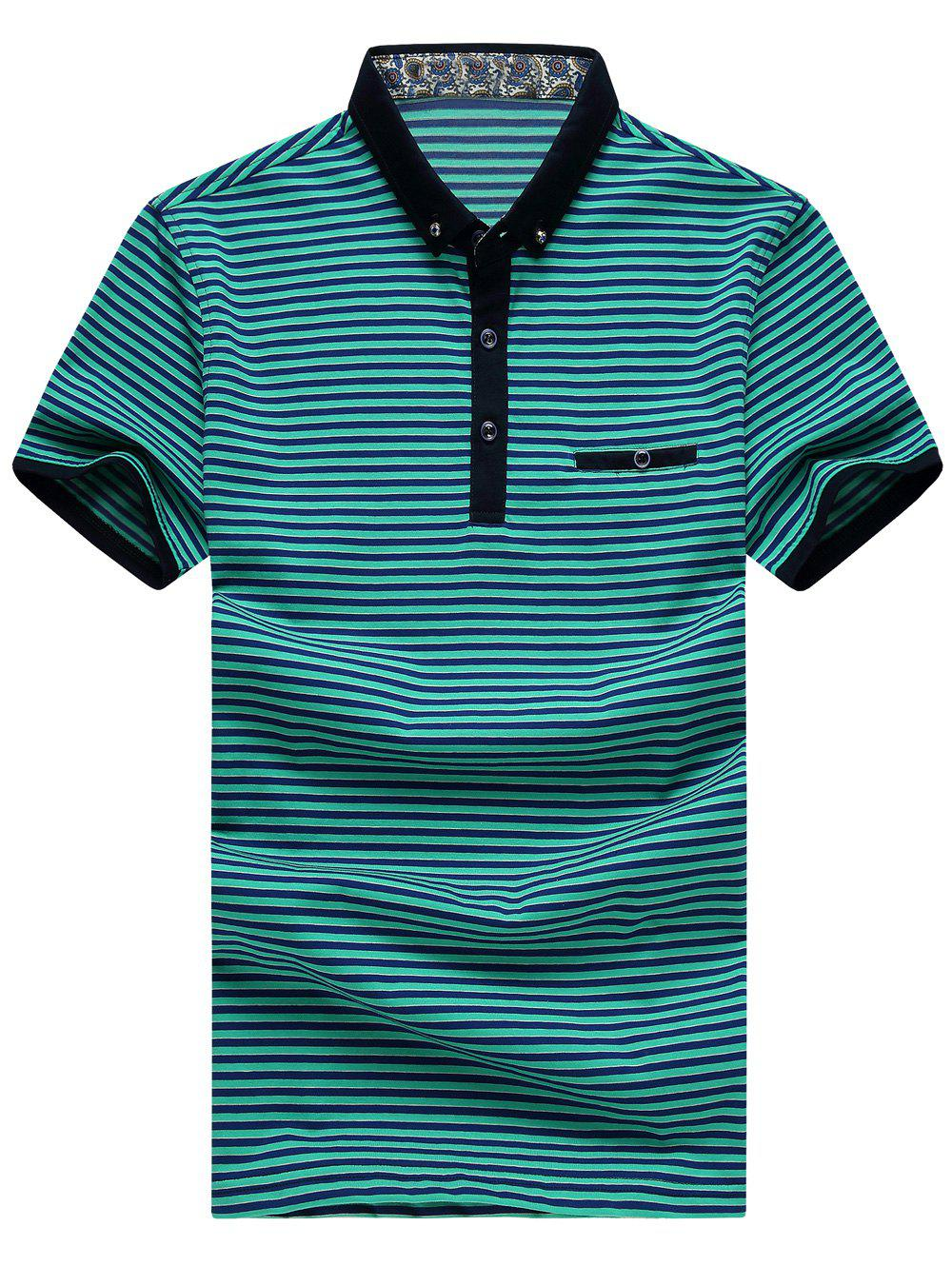 Men's Plus Size Turn-Down Collar Color Block Striped Short Sleeve Polo T-Shirt
