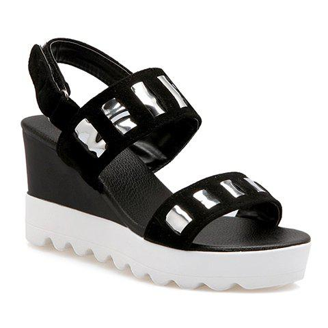 Trendy  and Wedge Heel Design Women's Sandals - BLACK 34